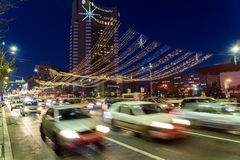 High Traffic On Christmas Eve Downtown Of Bucharest City At Night Royalty Free Stock Image