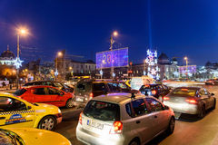 High Traffic On Christmas Eve Downtown Of Bucharest City At Night Stock Image
