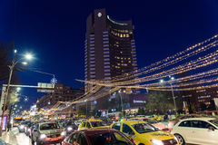 High Traffic On Christmas Eve Downtown Of Bucharest City At Night Stock Photography
