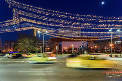 High Traffic On Christmas Eve Downtown Of Bucharest City At Night Stock Images