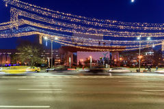 High Traffic On Christmas Eve Downtown Of Bucharest City At Night Royalty Free Stock Photo