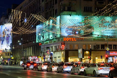 High Traffic On Christmas Eve Downtown Of Bucharest City At Night Royalty Free Stock Photography
