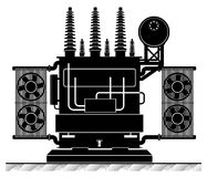 The high-transformatorel. Black and white illustration. Risk of electric shock. electricity supply. Energy Transformation Royalty Free Stock Photo