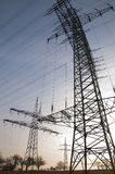 Transmission tower and sky. High Transmission tower and high voltage wires and sky royalty free stock photo