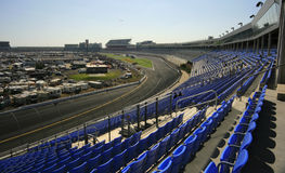 High in Turn 4. A view from high turn #4 at Lowes Motor Speedway in Concord, NC stock photo