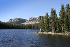 High Uinta mirror lake with tree Royalty Free Stock Photography
