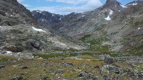 High Valley in Wind River Range, Wyoming. Glacier draining into creek stock images