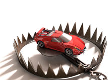 High Value Financing. Sports car into a bear trap. Risk concept in high value financing Stock Image