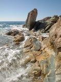 Rocky shore of Japanese sea Royalty Free Stock Image