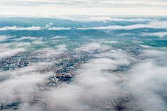 High view aerial photography of Huhhot urban area, Inner Mongolia, China. N stock photo