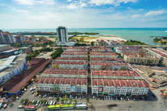 High view of the ancient Malaysian town in Malacca Royalty Free Stock Image