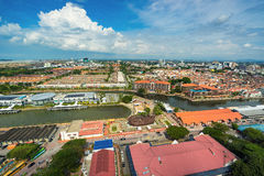 High view of the ancient Malaysian town in Malacca Royalty Free Stock Images