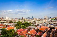 High view on Bangkok under blue sky with white clouds. Spectacular view on the capital city of Thailand, under clear blue sky and small white clouds, private Stock Photography