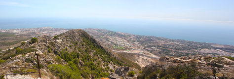 High View of Benalmadena Costa Spain. A high view of Benalmadena Costa including Puerto Viejo and Puerto de las Ovejas from the Telefrico cable car station on Royalty Free Stock Photos