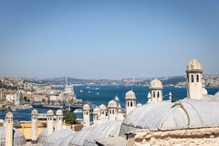High view of bosphorous sea and Istanbul city Royalty Free Stock Images