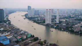 High view of Chaopraya river and transportation by boat. In Bangkok stock video
