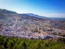 High view of Chefchaouen Blue Medina - Morocco Stock Photos