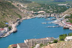 High view of Crimean Harbor with boats Royalty Free Stock Photo