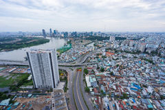 High view of downtown of Sai Gon Cityscape. High view of Sai Gon Cityscape at downtown of Ho Chi Minh  City, Vietnam in sunrise or sunset Stock Images