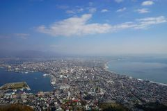 High view of Hakodate town from Mt. Hakodate observation point. Beautiful blue sky day Royalty Free Stock Photos