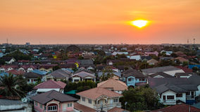 High view of house and building while sunset Stock Photography