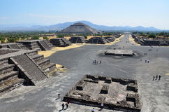 High view looking over Teotihuacan.  Royalty Free Stock Images