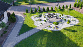 High view for modern villa garden Royalty Free Stock Photos