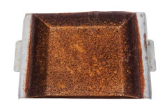 High View Neglected Rusty Grungy Decayed  Rusted Metal Tray Royalty Free Stock Images