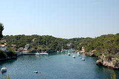 High view over figuera. Cala Figuera, Mallorca a pretty harbour in the south of the island popular with yachtsmen stock photography