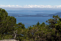 High view point of the San Juan Islands during summertime Royalty Free Stock Photography