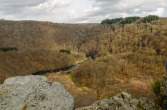 High view of river in the Ardennen. Panoramic high view of a river running through the hills in the Ardennen stock photography