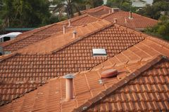 Residential rooftops in terracotta orange. Royalty Free Stock Photos