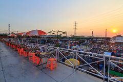 High view of Saitai center outdoor street market in sunset time Royalty Free Stock Photography