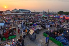 High view of Saitai center outdoor street market in sunset time. Bangkok , Thailand - 10 April, 2018: High view of Saitai center outdoor street market in sunset Stock Photo