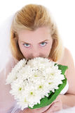 High view of sensual bride holding bouquet Royalty Free Stock Photography