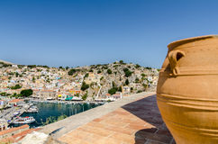 High view on the Symi island harbor Stock Photo