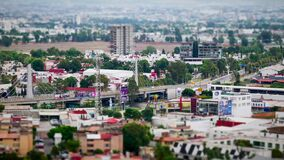 High view time lapse of traffic in Cholula city with bridge of Recta a Cholula, Tilt Shift Miniature Looks. stock footage