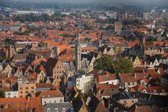 High View to Brugge Roofs Stock Photos