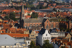 High View to Brugge Roofs Stock Image