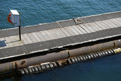 High viewpoint of empty wooden jetty Royalty Free Stock Photos