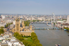 Westminster and River Thames, London. High viewpoint of the River Thames and Westminster including the Houese of Parliament and London Eye Royalty Free Stock Image