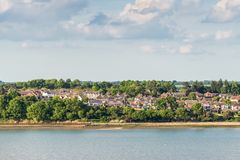 Shotley Gate in England, United Kingdom. A high viewpoint of the Shotley peninsula coastline taken from cruise ship in Ipswich, England, United Kingdom royalty free stock photography