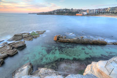 High views over Coogee Rock Pool. High views from the cliff top overlooking the northern rockpool at Coogee in Sydney's eastern suburbs.  Giles Baths is a Royalty Free Stock Image