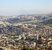 from high in the village morocco africa field and constructions Royalty Free Stock Photo