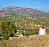 from high in the village morocco africa field and constructions Royalty Free Stock Photography