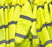 High visibility jackets. Bright yellow high visibilty jackets Royalty Free Stock Image