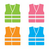 High visibility vests. Vector icon set isolated on white background stock illustration