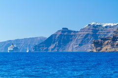 High volcanic cliff of Santorini island Royalty Free Stock Image