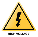 High voltage. Warning sign in yellow Royalty Free Stock Image