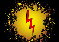 High voltage. Red icon in  yellow and black grunge background eps Stock Photography